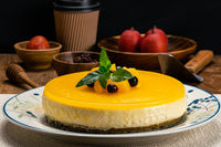 View of delicious homemade peach cheesecake.