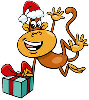 cartoon monkey animal character with gift on Christmas time