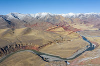 aerial view of the nujiang river with tanggula mountains