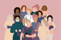 Female diverse characters of different ethnicity, occupation, age pattern. Women empowerment movemen