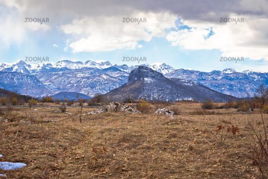 Lika region. Zir hill and Velebit mountain in Lika landscape view
