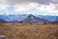 Lika region. Zir hill and Velebit mountain in Lika landscape view