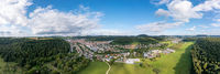 Aerial summer view over Albstadt in the Swabian Alp, a rural recreation aera in south west germany.