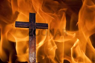 cross on fire