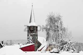 Kirchturm Güntersberge im Winter