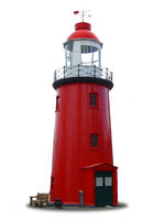 Small red isolated lighthouse