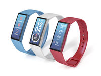 Three fitness trackers on white background