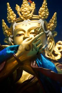 Golden Buddha in Tibetan Monastery