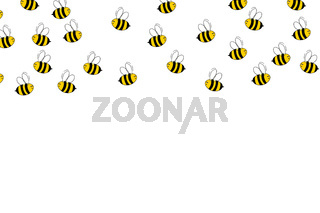 Cartoon cute bee mascot. Merry bee with an empty table. Small wasp. Vector character. Insect icon. Holiday template design for invitation, cards, wallpaper, school, kindergarten. Copy space