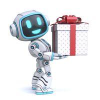 Cute blue robot holding gift box 3D