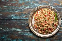 Arab Turkish salad tabbouleh from above copy space