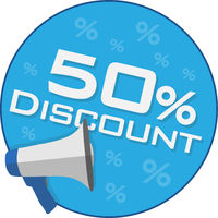 round 50 percent discount sticker or sign with megaphone