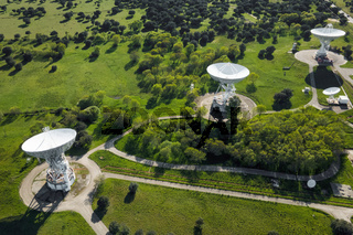 Aerial view of large telecommunications antenna or Radio telescope satellite dish. High quality photo