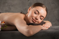 Woman relaxing in wellness center