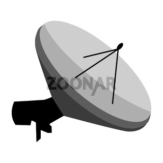 Isometric satellite dish for receiving television channels isolated on white. TV antenna. Vector EPS10.