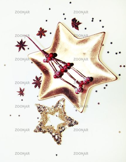 Golden Star Plate with christmas decoration