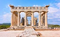 Temple of Aphaea in Aegina Island, in Greece