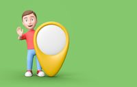 3D Cartoon Character with a Map Pointer on Green Background with Copy Space