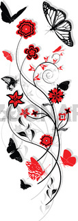 Floral ornament with butterflies