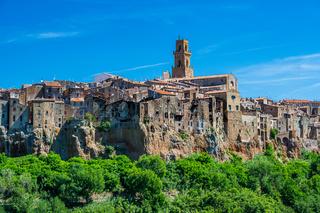 View of the village of Pitigliano
