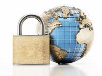 Globe and padlock isolated on white background. 3D illustration