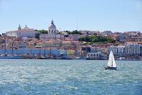 sailboat and Lisbon landscape