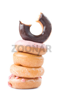 Stack of colorful and delicious donut
