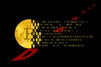 Coding, hacker mining of cryptocurrency bitcoin with technology binary code. Digital binary data