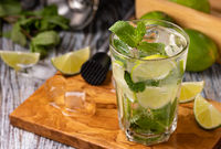 Mojito cocktail with lime, mint and ice
