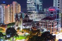 The illuminated skyline of Brisbane at night