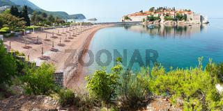 Sveti Stefan sea islet  (Montenegro). Summer panorama.