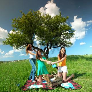very fun girlfriends on picnic