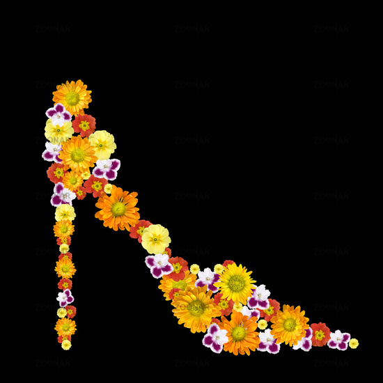 decorative womans shoe from color flowers