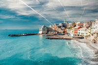 View of Bogliasco ancient fishing village. Italy
