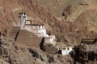 The fortress monastery high above the Basgo village, Ladakh