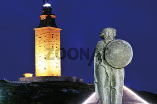 Spanien, Galicien: Herkulesturm in A Coruna