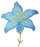 Blue Embroidery Flower