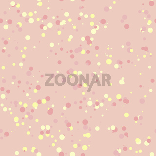 Seamless pattern from multicolored confetti. Colored circles on a pink background. Vector EPS10.