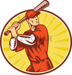 Baseball Player With Bat Batting Retro Style
