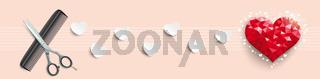 Low Poly Heart Valentine Scissors Comb Header