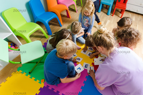 Educational group activity at the kindergarten or daycare