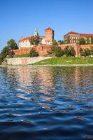 View From Vistula River to Wawel Castle in Krakow