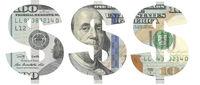 Stencil of the USD symbol on hundred-dollar bill