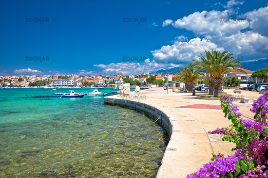 Town of Novalja waterfront and turquoise sea view
