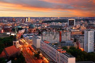 berlin skyline sunset