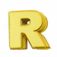 Yellow font Letter R 3D