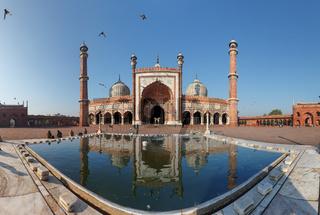 Indian landmark - Jama Masjid mosque in Delhi. Panorama