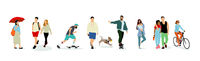 set of young people walking in a row , realistic  illustration  -