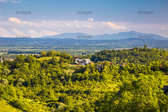 Picturesque green hills view from Plesivica mountain