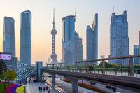Pudong in Shanghai at dusk